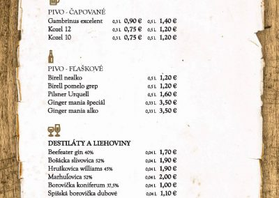 Jedálny a nápojový lístok